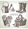 Sketch gardening set vector image
