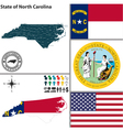 Map of North Carolina with seal vector image