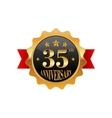 35 years anniversary golden label vector image