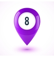 Violet realistic 3D glossy map point symbol vector image