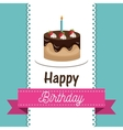 card birthday cake chocolate candle graphic vector image