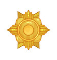 cartoon shiny golden military medal or badge for vector image