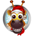 cute christmas giraffe head cartoon vector image