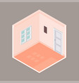 flat 3d isometric empty room - vector image