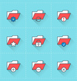 Folder icons icon set in flat design style For web vector image