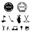 golf black icon and symbol vector image