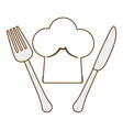 silhouette fork and knife with chef hat vector image