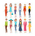 women in different clothes evening sportswear vector image