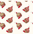 seamless background with cupcakes and cherries vector image