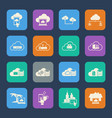 cloud computing icons set flat design for website vector image