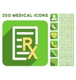 Receipt Text Icon and Medical Longshadow Icon Set vector image