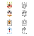 Alcohol drinks logo set Whiskey and tequila vector image