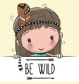 Cute cartoon tribal girl with a feather vector image