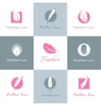 Feathers logo set vector image
