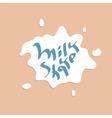 Milkshake hand drawn text vector image