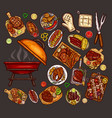set of elements for barbecue vector image
