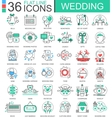Wedding flat line outline icons for apps vector image