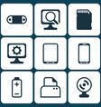 set of 9 computer hardware icons includes pc vector image