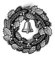 Retro Christmas wreath black and white vector image