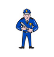Policeman With Night Stick Baton Standing vector image vector image