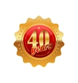 40 years anniversary golden label vector image