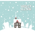Greeting card Image gingerbread house on a snowy vector image