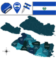 El Salvador map with named divisions vector image