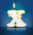 Candle letter X with flame vector image