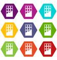 chocolate bar icon set color hexahedron vector image