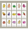 Funny animals set of cards Watercolor sketch for vector image