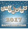 Happy new year 2017 and forest animals vector image