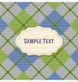 Knitted background with wooden label vector image