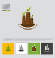 logo with plant or factory tubes with green leaves vector image