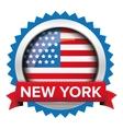 New York and USA flag badge vector image