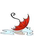 Red umbrella fallen into a puddle vector image