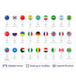 set of world flags isolated on white vector image