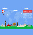 travel concept with famous world monuments vector image