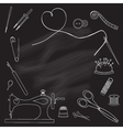 Drawn in chalk on the blackboard tools for sewing vector image