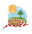 picnic basket tablecloth landscape vector image