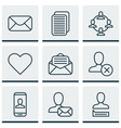 set of 9 social network icons includes ban person vector image