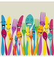 Colorful silverware set vector image