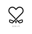 golf love icon in black color vector image