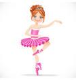 Cute brunette ballerina girl dancing in pink dress vector image vector image