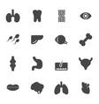 black anatomy icons set vector image