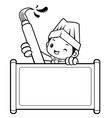 black and white head chef mascot scroll and brush vector image