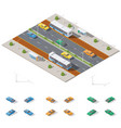 bus stop and two way road architecture isometric vector image