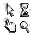 cursor hand arrow hourglass magnifying vector image