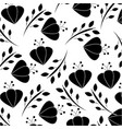 seamless pattern flowers leaves branch decoration vector image