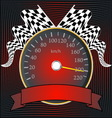 Speedometer with checkered flags and banner vector image