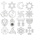 World religions symbols set of outline icons eps10 vector image